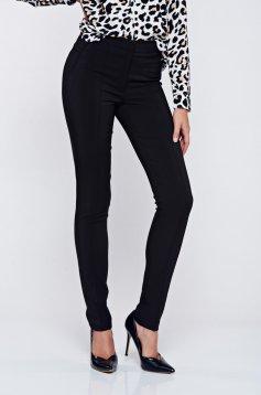 Pantaloni LaDonna negri office conici cu talie medie