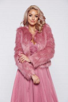 Jacheta StarShinerS rosa eleganta din blana ecologica captusita pe interior