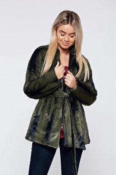 Palton PrettyGirl verde blana ecologica accesorizata cu cordon