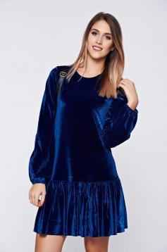 Rochie PrettyGirl albastra de ocazie cu croi larg din catifea