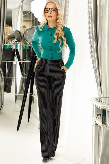 Camasa dama Fofy verde office cu un croi mulat din bumbac cu maneca lunga