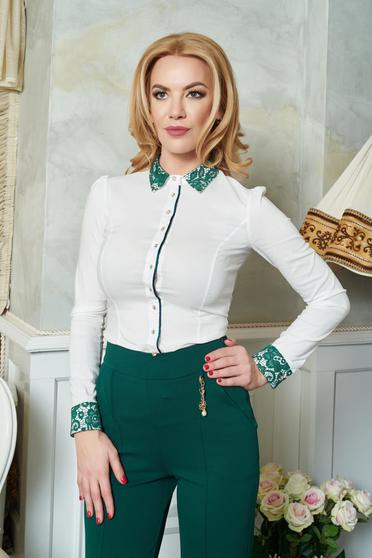 Camasa Fofy Laced Collar Green