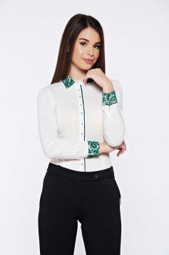 Camasa dama Fofy office din bumbac elastic cu aplicatii de dantela verde