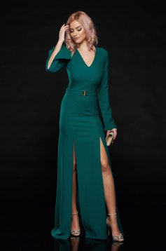 Rochie PrettyGirl verde de ocazie cu decolteu accesorizata cu o catarama metalica