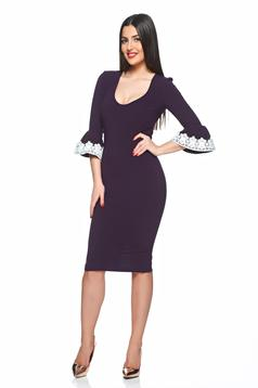 Rochie mov StarShinerS cu maneci tip fluture si insertii de broderie