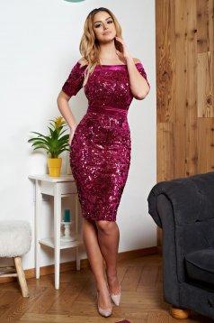 Rochie de ocazie cu paiete roz StarShinerS accesorizata cu cordon