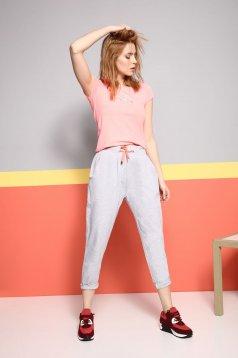 Pantaloni sport conici Top Secret gri inchis cu croi larg