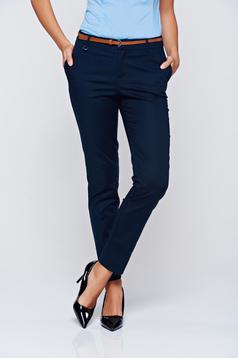 Pantaloni Top Secret albastru-inchis office conici cu talie medie