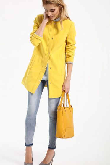 Trench Top Secret galben casual cu maneca lunga