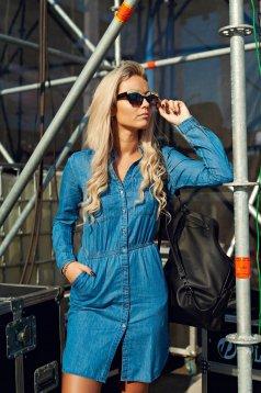 Rochie din bumbac Top Secret albastra cu maneca lunga