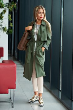 Trench Top Secret verde casual cu croi larg
