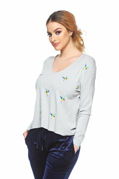 Pulover Embroidered Birds Grey