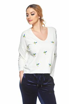 Pulover Embroidered Birds White