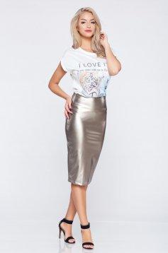 Fusta StarShinerS argintie casual din piele ecologica cu talie inalta