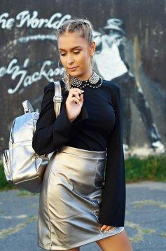 Bluza dama StarShinerS neagra casual cu maneci clopot