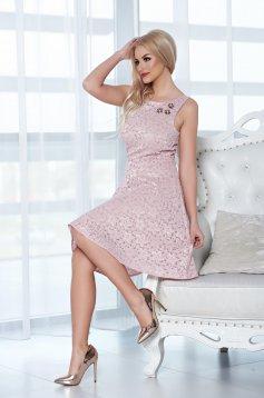 Rochie din material dantelat StarShinerS rosa accesorizata cu pietre stras