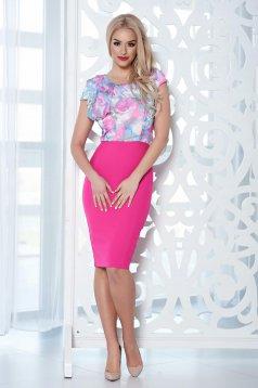 Rochie cu volanase StarShinerS roz cu imprimeu floral