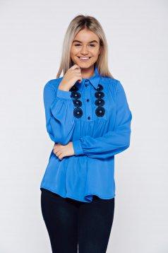Bluza dama LaDonna albastra eleganta brodata cu croi larg