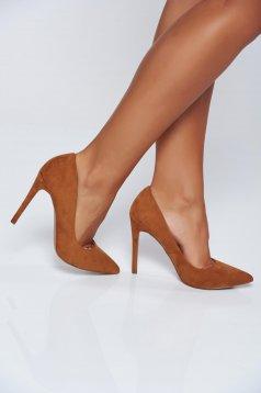 Pantofi Top Secret maro-deschis office cu toc inalt cu varful usor ascutit
