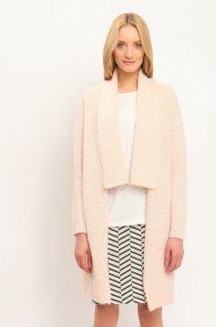 Cardigan Top Secret roz basic din lana cu croi larg