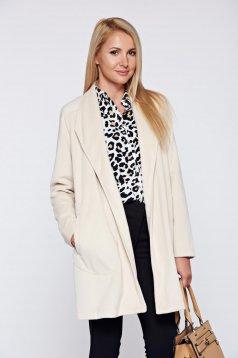 Palton Top Secret crem elegant drept cu buzunare