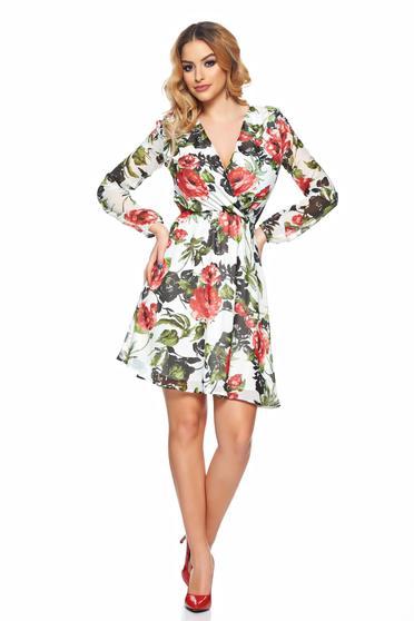 Rochie alba de zi StarShinerS in clos cu imprimeu floral