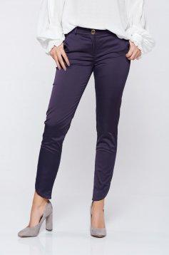 Pantaloni PrettyGirl albastru-inchis office cu talie medie cu buzunare
