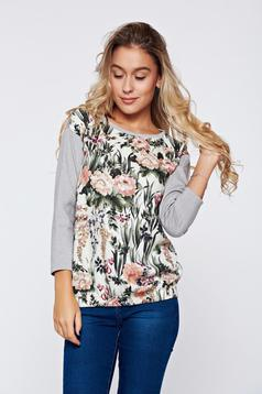 Bluza dama casual Top Secret gri cu imprimeuri florale