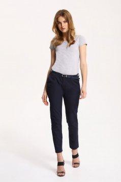 Pantaloni Top Secret albastru-inchis office cu accesoriu tip curea