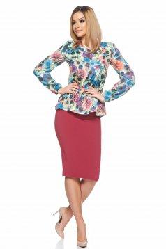 Bluza dama mov StarShinerS cu maneca lunga si imprimeuri florale