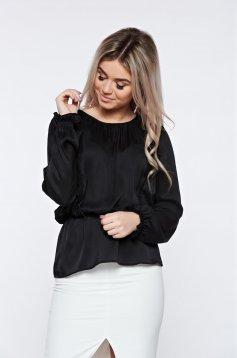 Bluza dama PrettyGirl neagra eleganta cu elastic in talie