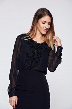 Bluza dama PrettyGirl neagra eleganta cu croi larg cu volanase