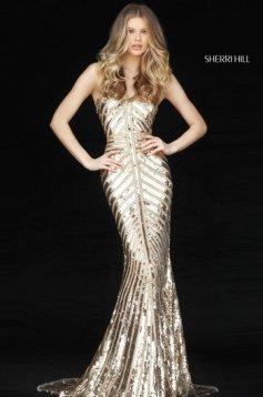 Rochie Sherri Hill 51206 Gold