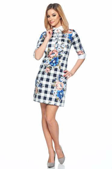 Rochie LaDonna albastru-inchis cu croi larg cu guler ascutit