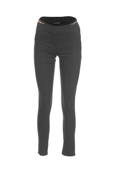 Pantaloni Fofy negri office cu talie medie din material elastic si fin
