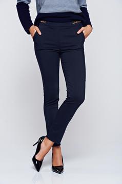Pantaloni albastru-inchis Fofy office drepti cu talie medie