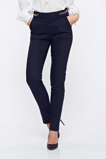 Pantaloni Fofy albastri-inchis office drepti cu talie medie