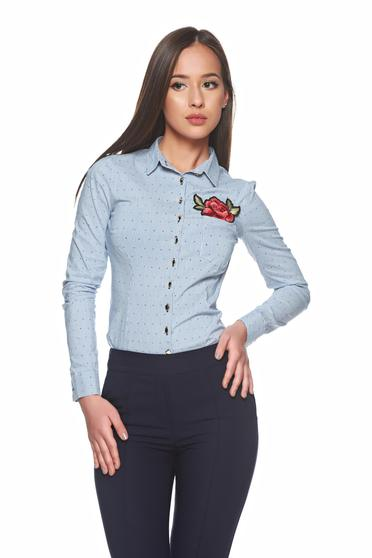 Camasa Fofy Embroidered Rose Blue