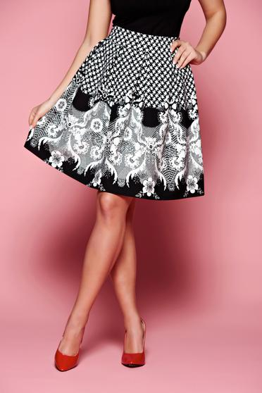 Fusta Fofy Square Lace Print Black
