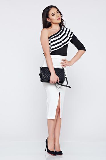 Bluza dama casual neagra StarShinerS asimetrica