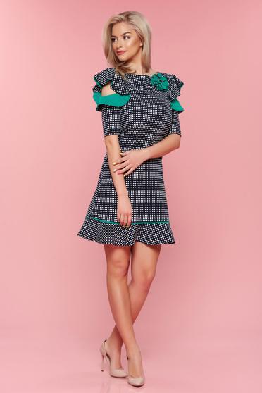 Rochie LaDonna verde cu buline cu maneci tip fluture
