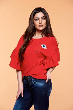 Bluza dama brodata StarShinerS rosie cu maneci tip fluture
