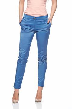 Pantaloni PrettyGirl albastri conici cu talie medie