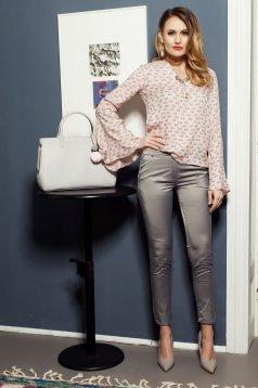 Pantaloni PrettyGirl crem conici cu talie medie