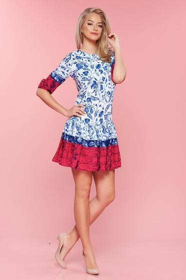 Rochie din bumbac PrettyGirl alba cu imprimeu floral