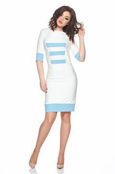 Rochie de zi PrettyGirl albastra-deschis cu dungi orizontale