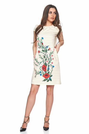 Rochie cu imprimeu floral si dungi Fofy crem