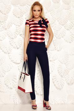 Bluza dama rosie Fofy office cu maneci scurte din material usor elastic cu fundita