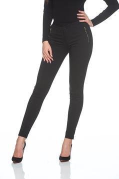 Pantaloni office LaDonna negri cu talie medie
