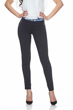 Pantaloni office LaDonna albastru-inchis cu talie medie